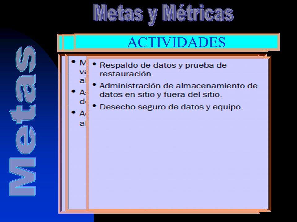 Metas y Métricas TI PROCESOS ACTIVIDADES Metas Establece