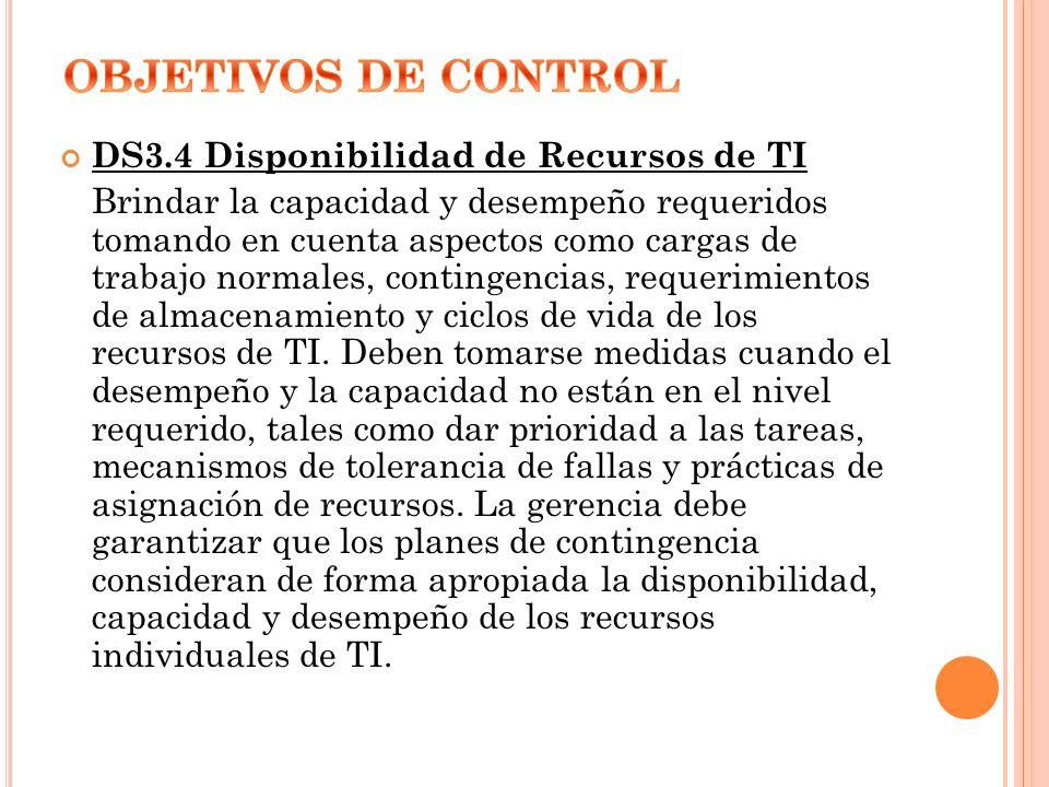 OBJETIVOS DE CONTROL DS3.4 Disponibilidad de Recursos de TI