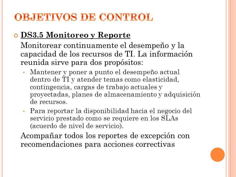 OBJETIVOS DE CONTROL DS3.5 Monitoreo y Reporte