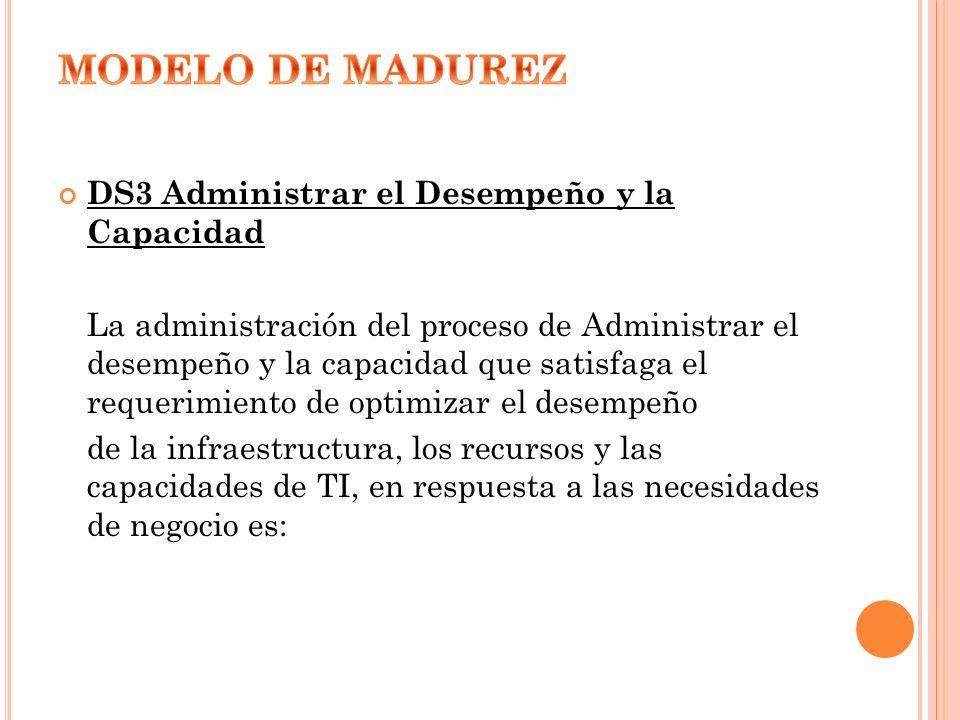 MODELO DE MADUREZ DS3 Administrar el Desempeño y la Capacidad