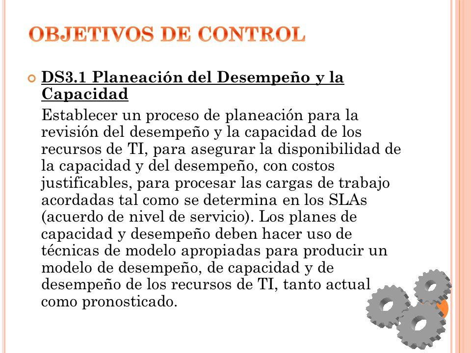 OBJETIVOS DE CONTROL DS3.1 Planeación del Desempeño y la Capacidad