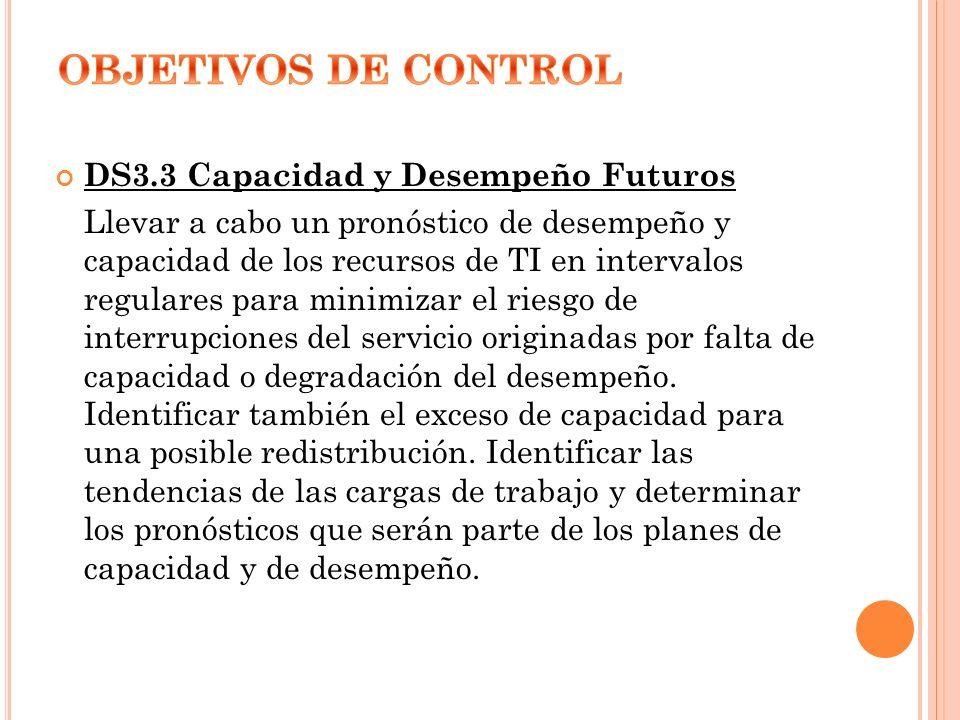OBJETIVOS DE CONTROL DS3.3 Capacidad y Desempeño Futuros