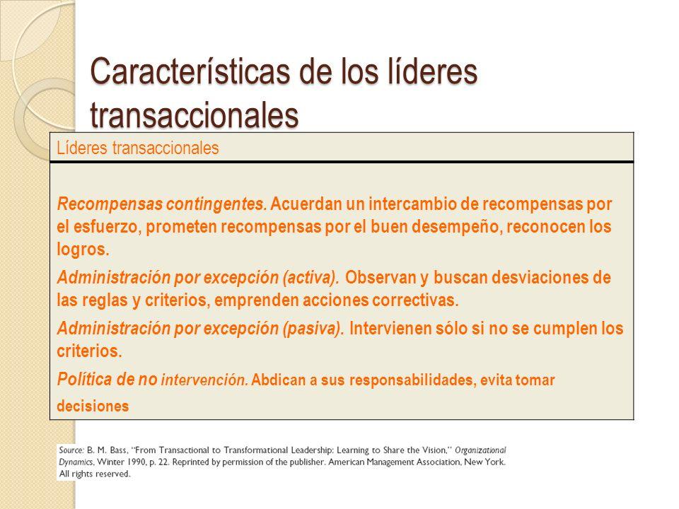 Características de los líderes transaccionales
