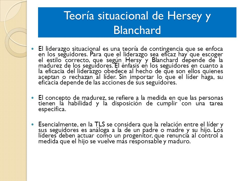 Teoría situacional de Hersey y Blanchard