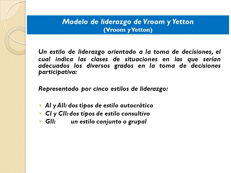 Modelo de liderazgo de Vroom y Yetton (Vroom y Yetton)
