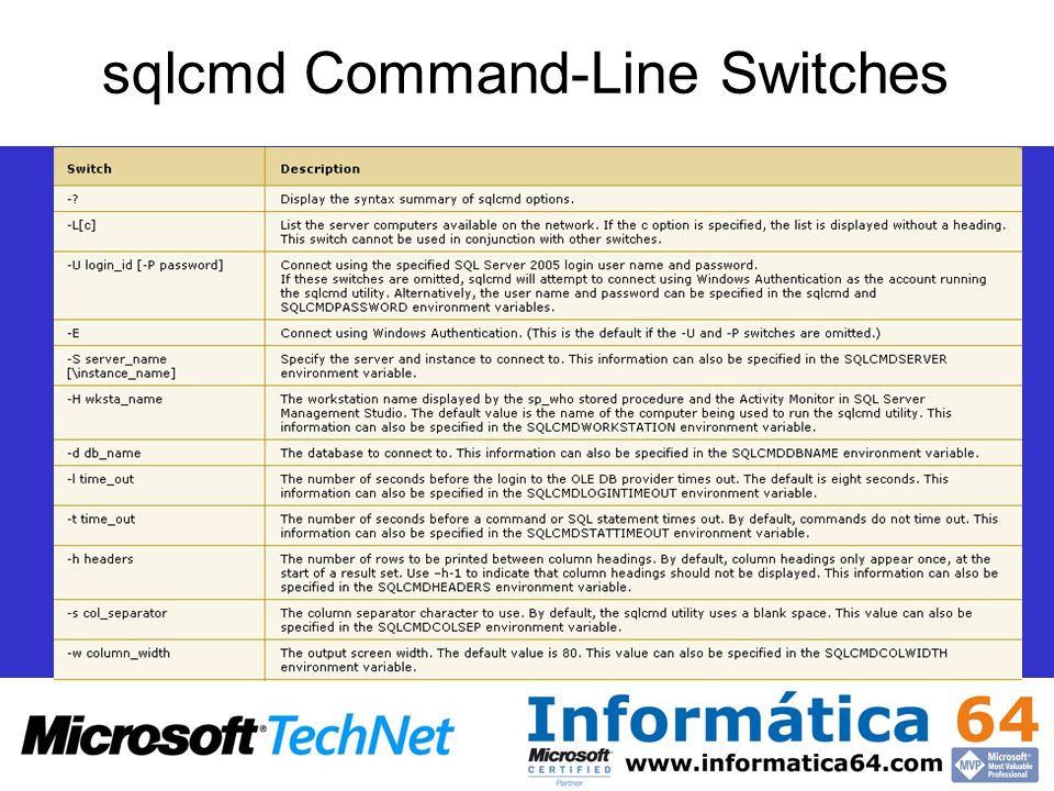 sqlcmd Command-Line Switches