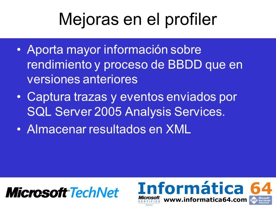 Mejoras en el profiler Aporta mayor información sobre rendimiento y proceso de BBDD que en versiones anteriores.