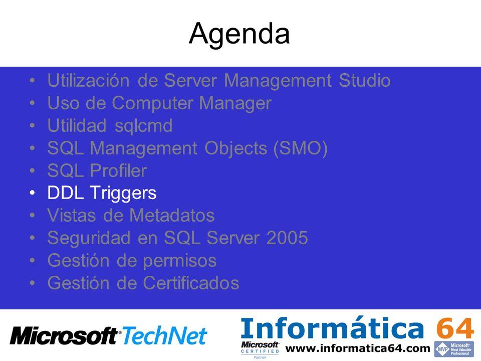 Agenda Utilización de Server Management Studio Uso de Computer Manager