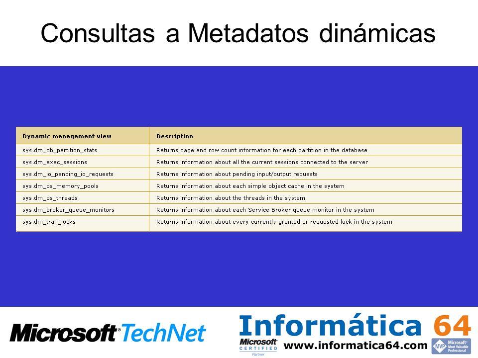 Consultas a Metadatos dinámicas