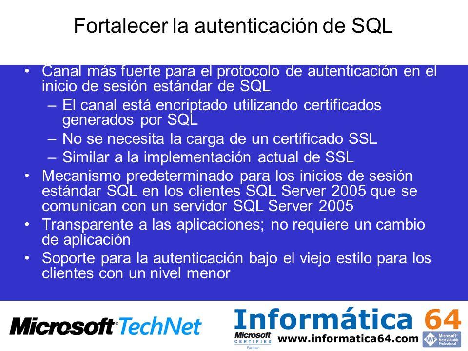Fortalecer la autenticación de SQL