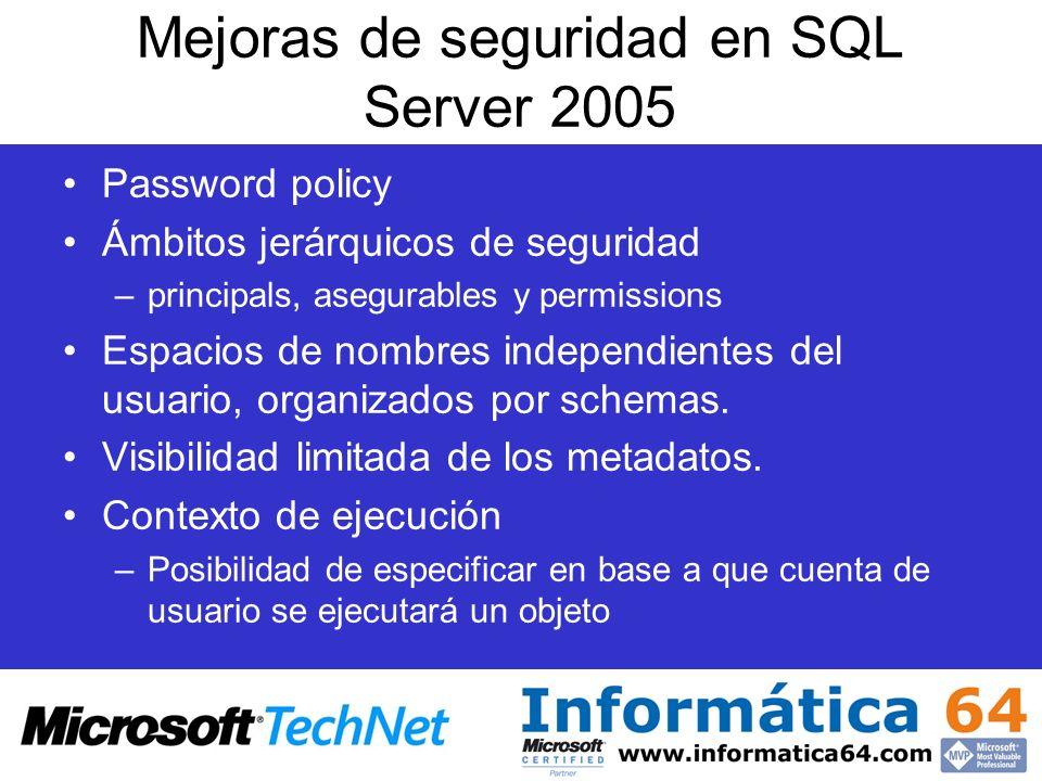 Mejoras de seguridad en SQL Server 2005