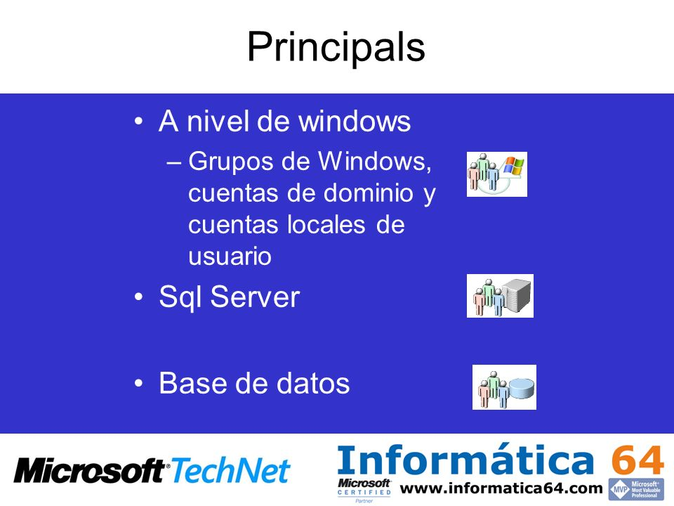 Principals A nivel de windows Sql Server Base de datos