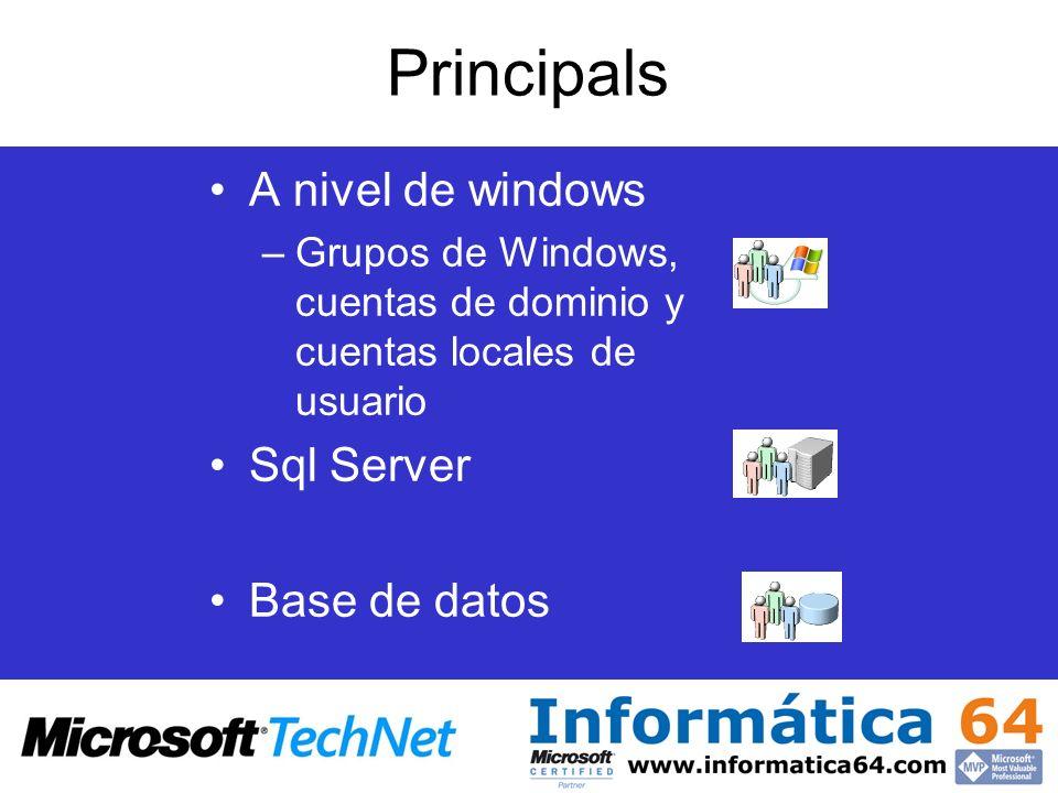 Principals A nivel de windows Sql Server Base de datos