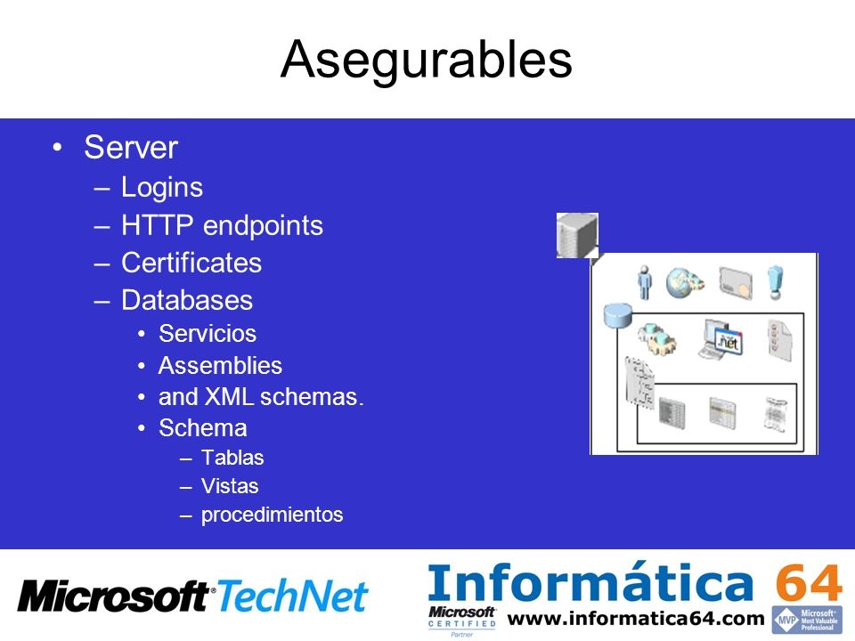 Asegurables Server Logins HTTP endpoints Certificates Databases