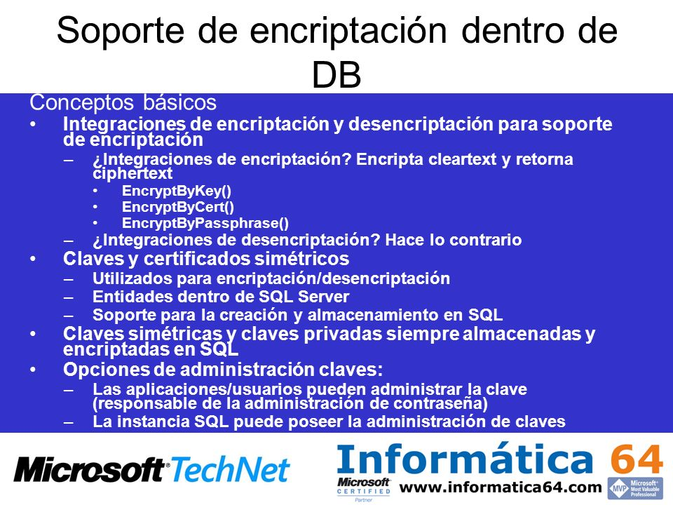 Soporte de encriptación dentro de DB