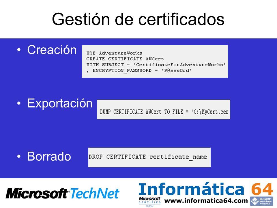 Gestión de certificados