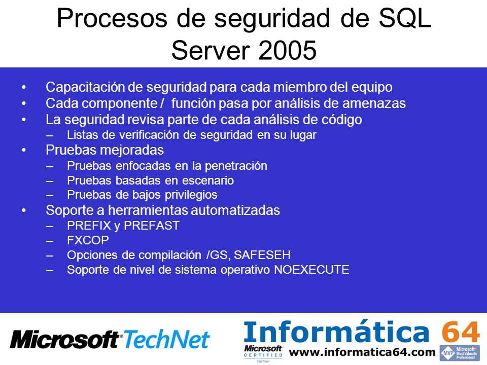 Procesos de seguridad de SQL Server 2005