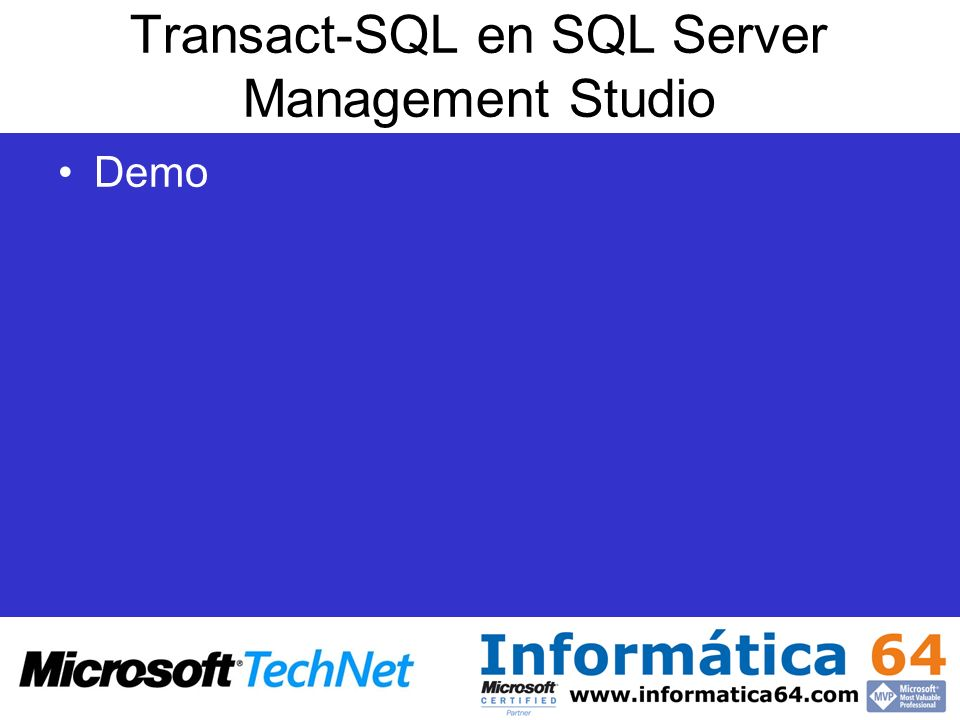 Transact-SQL en SQL Server Management Studio
