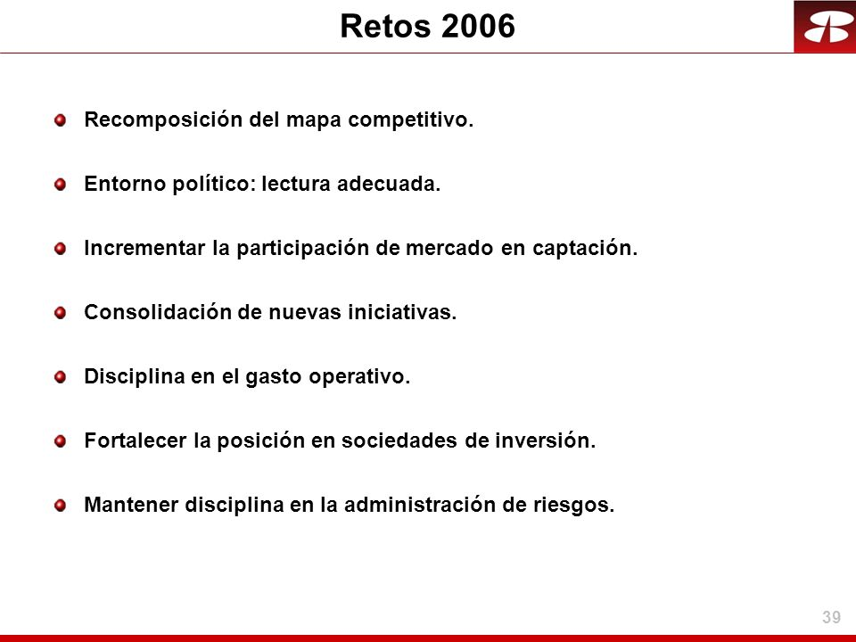 Retos 2006 Recomposición del mapa competitivo.