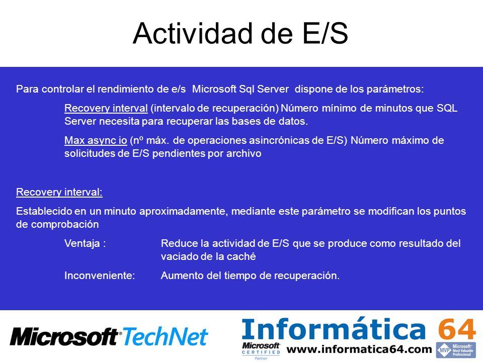 Actividad de E/S Para controlar el rendimiento de e/s Microsoft Sql Server dispone de los parámetros: