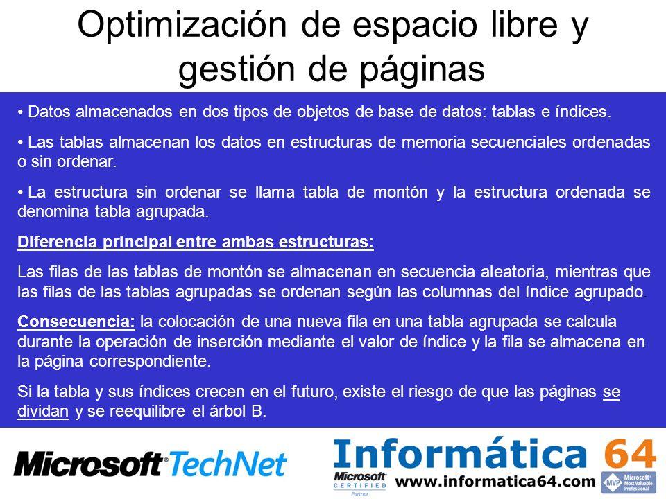 Optimización de espacio libre y gestión de páginas