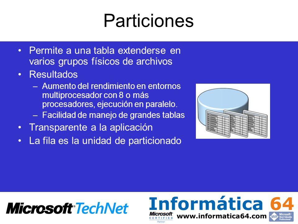 Particiones Permite a una tabla extenderse en varios grupos físicos de archivos. Resultados.