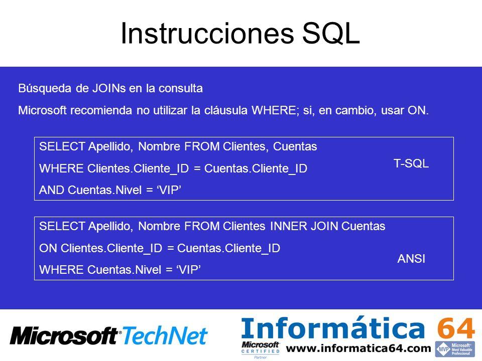 Instrucciones SQL Búsqueda de JOINs en la consulta
