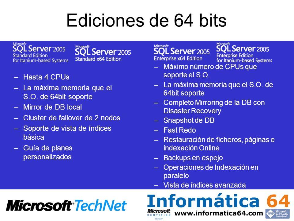 Ediciones de 64 bits Hasta 4 CPUs