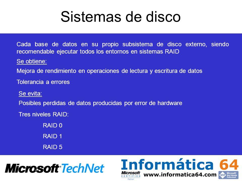 Sistemas de disco Cada base de datos en su propio subsistema de disco externo, siendo recomendable ejecutar todos los entornos en sistemas RAID.