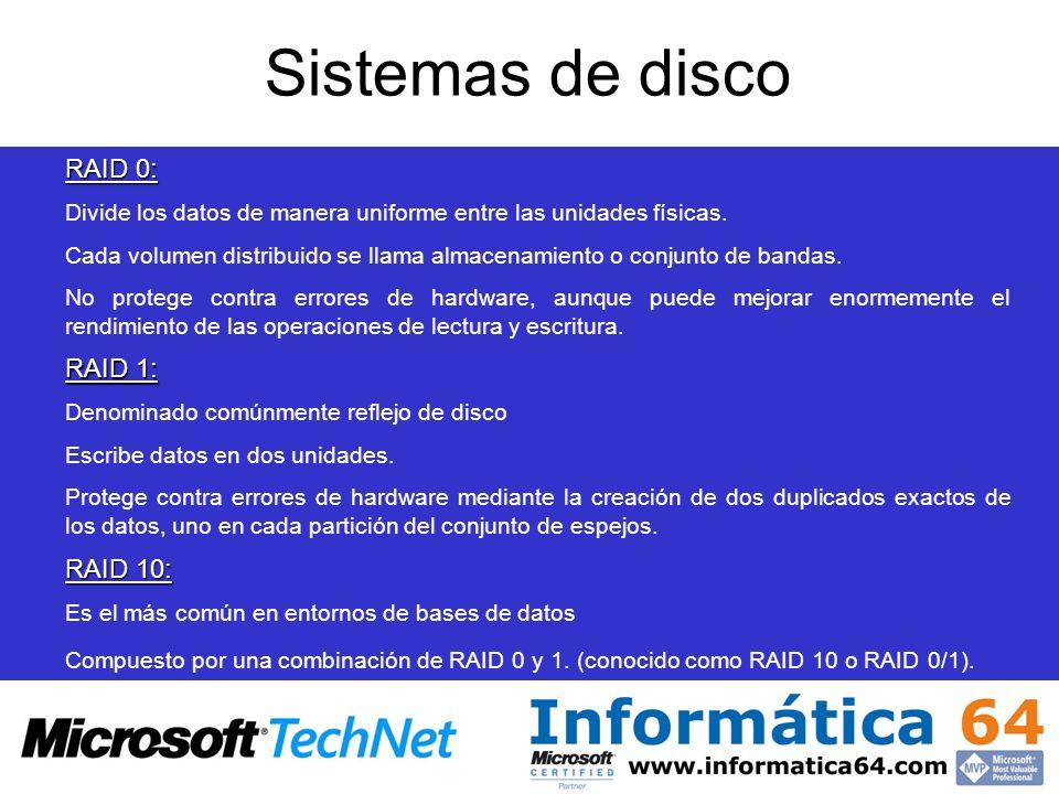 Sistemas de disco RAID 0: RAID 1: RAID 10: