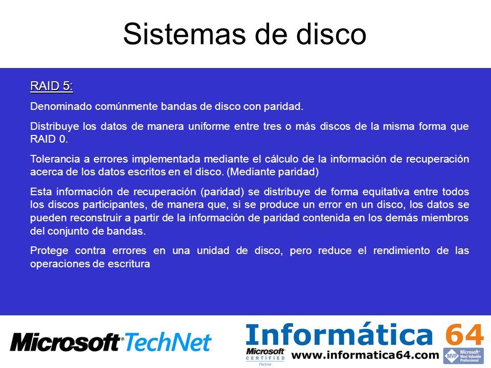 Sistemas de disco RAID 5: