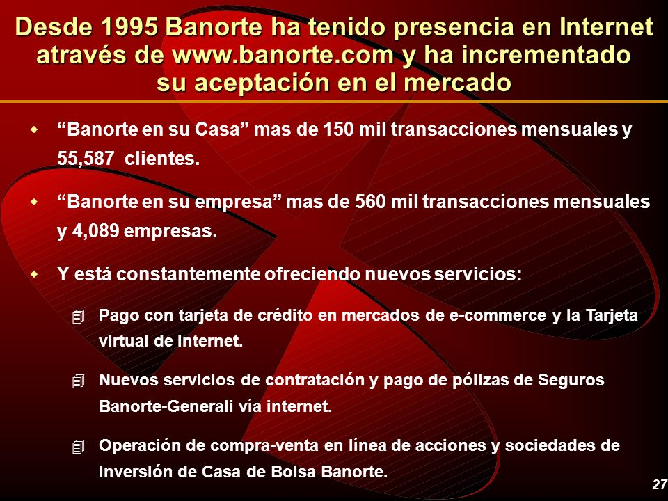 Desde 1995 Banorte ha tenido presencia en Internet através de www