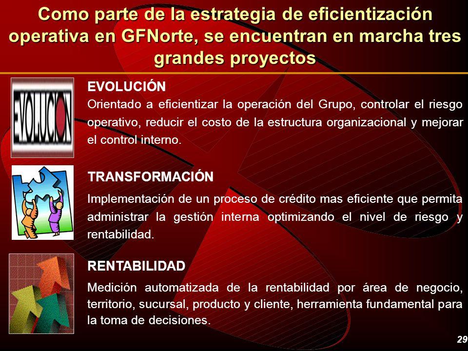 Como parte de la estrategia de eficientización operativa en GFNorte, se encuentran en marcha tres grandes proyectos