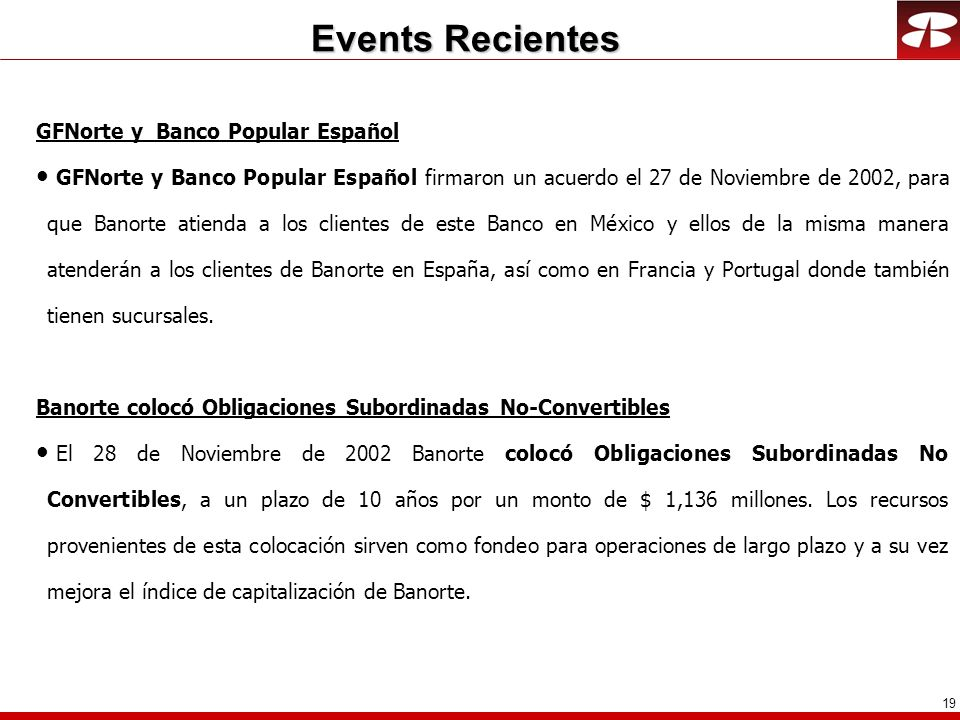 Events Recientes GFNorte y Banco Popular Español