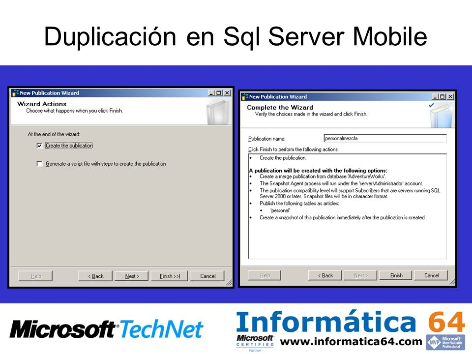 Duplicación en Sql Server Mobile