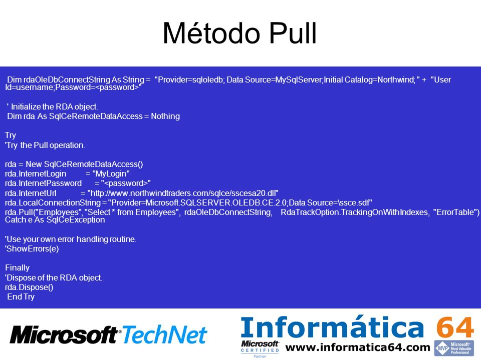 Método Pull Connection string to the instance of SQL Server