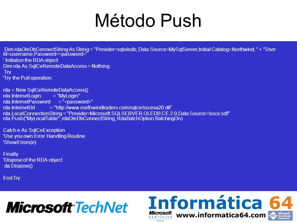 Método Push Connection string to the instance of SQL Server