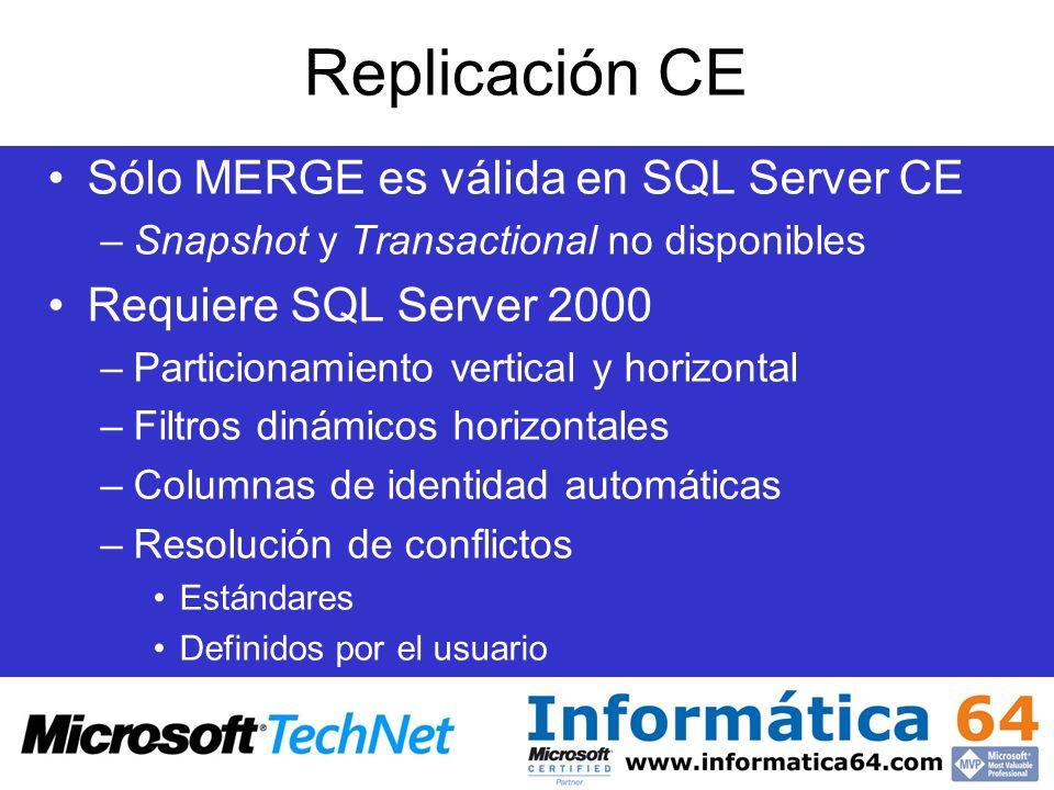 Replicación CE Sólo MERGE es válida en SQL Server CE