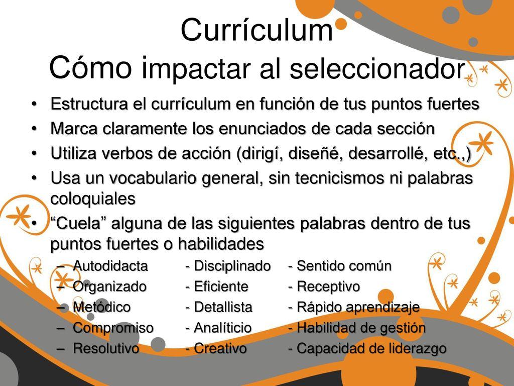 Dorable Verbos De Acción En Currículum Composición - Ejemplo De ...