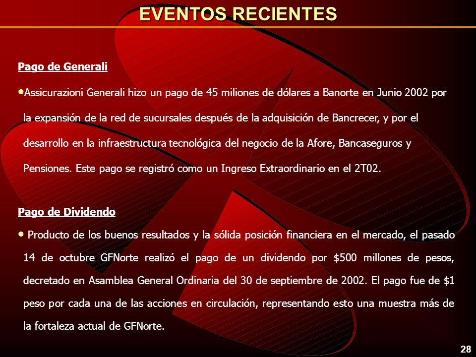 EVENTOS RECIENTES Pago de Generali