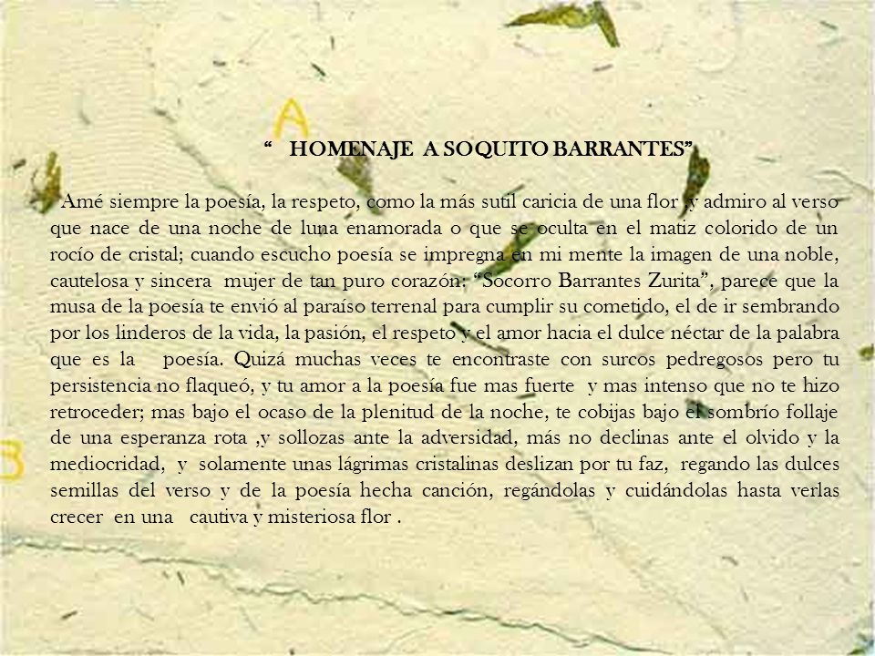 HOMENAJE A SOQUITO BARRANTES