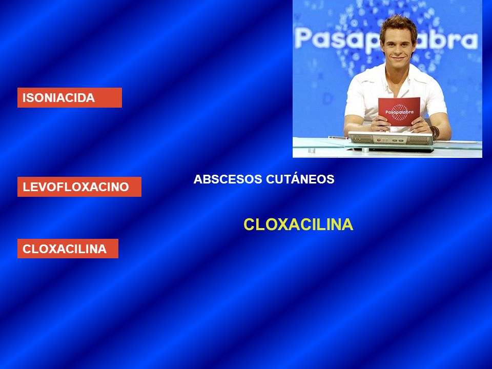 ISONIACIDA ABSCESOS CUTÁNEOS LEVOFLOXACINO CLOXACILINA CLOXACILINA