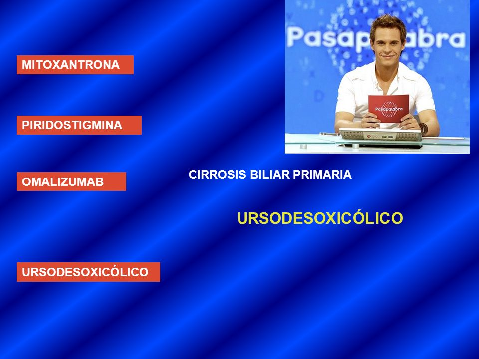URSODESOXICÓLICO MITOXANTRONA PIRIDOSTIGMINA CIRROSIS BILIAR PRIMARIA