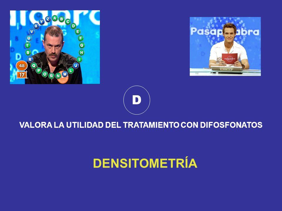 D VALORA LA UTILIDAD DEL TRATAMIENTO CON DIFOSFONATOS DENSITOMETRÍA