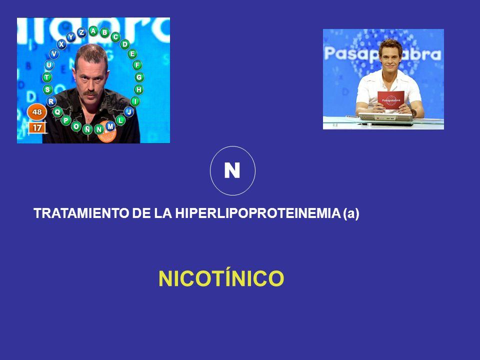 N TRATAMIENTO DE LA HIPERLIPOPROTEINEMIA (a) NICOTÍNICO