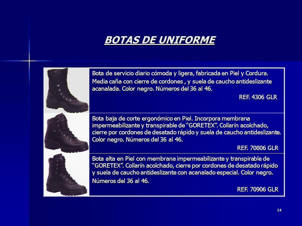 BOTAS DE UNIFORME Bota de servicio diario cómoda y ligera, fabricada en Piel y Cordura.