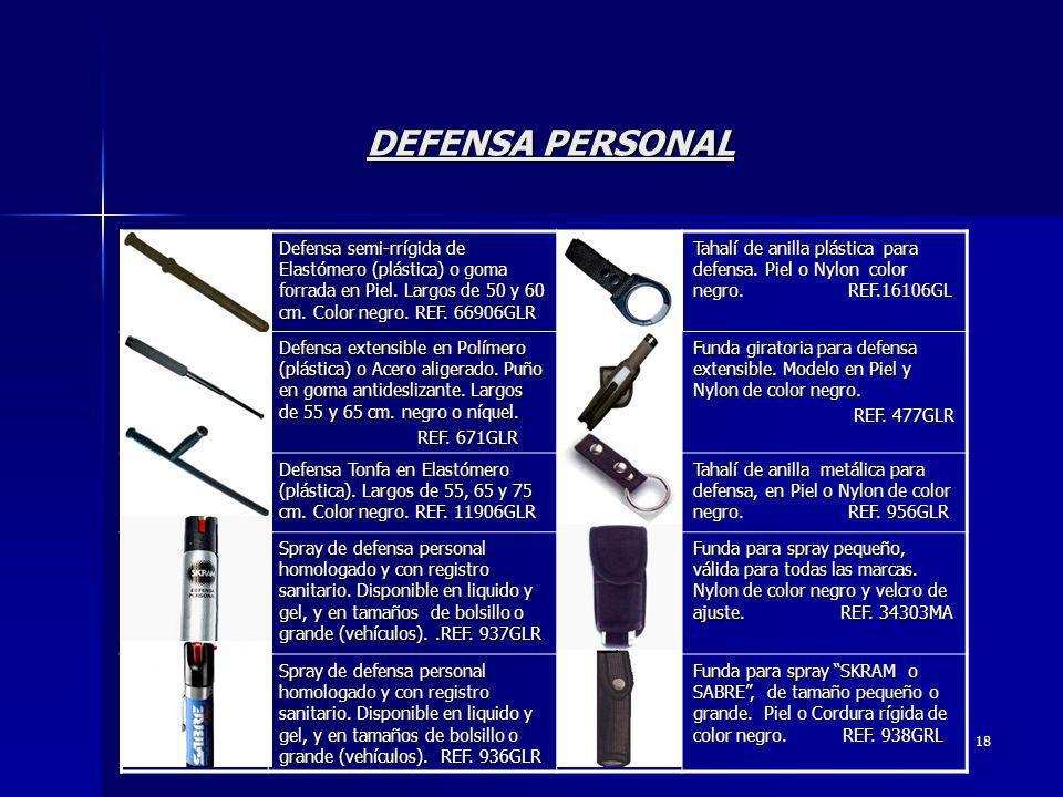 DEFENSA PERSONAL Defensa semi-rrígida de Elastómero (plástica) o goma forrada en Piel. Largos de 50 y 60 cm. Color negro. REF. 66906GLR.