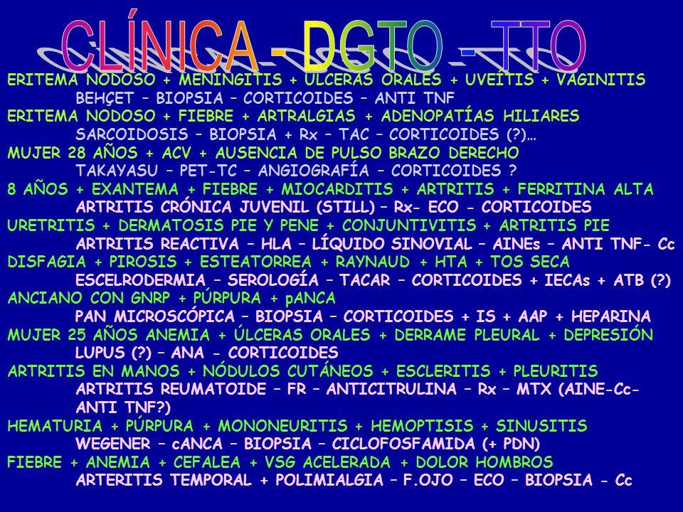 CLÍNICA - DGTO - TTO ERITEMA NODOSO + MENINGITIS + ÚLCERAS ORALES + UVEÍTIS + VAGINITIS. BEHÇET – BIOPSIA – CORTICOIDES – ANTI TNF.