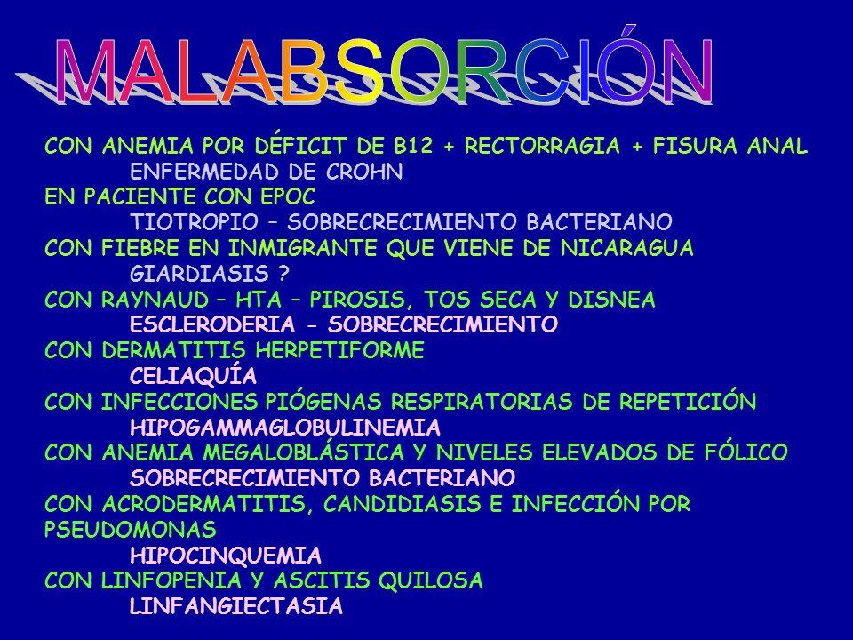 MALABSORCIÓN CON ANEMIA POR DÉFICIT DE B12 + RECTORRAGIA + FISURA ANAL
