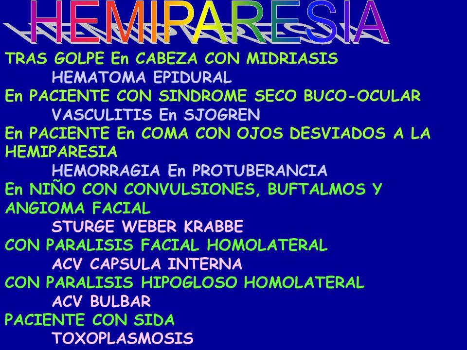 HEMIPARESIA TRAS GOLPE En CABEZA CON MIDRIASIS HEMATOMA EPIDURAL